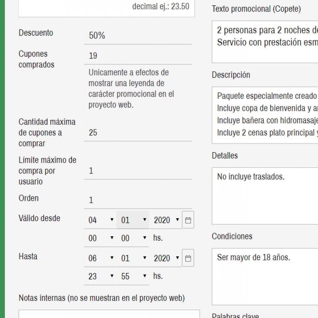Datos e información avanzada del cupón de descuento con tiempo limitado.